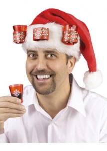 Santa's Shot Santa Hat complete with shot glasses