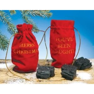 Two pieces of coal in a Merry Christmas bag or a You've Been Naughty bag.  Each sold seperately.