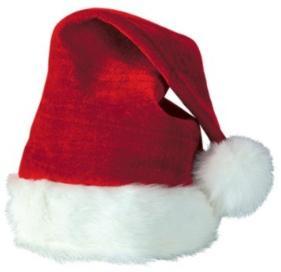 Red Plush Santa Hat with White Fur Trim
